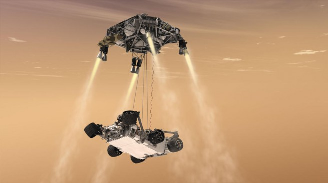 The Mars 202 rover will use the same Skycrane landing system that was used in the successful landing of the Curiosity rover in 2012 Image Credit: NASA/JOL
