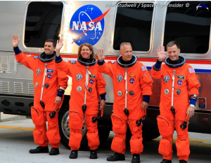 "From left-to-tight, the crew of STS-135: Rex Walheim, Sandra Magnus, Doug Hurley and the flight's commander Chris Ferguson. Ferguson recently ""flew"" the CST-100 spacecraft - albeit in a virtual capacity. Photo Credit: John Studwell / SpaceFlight Insider"