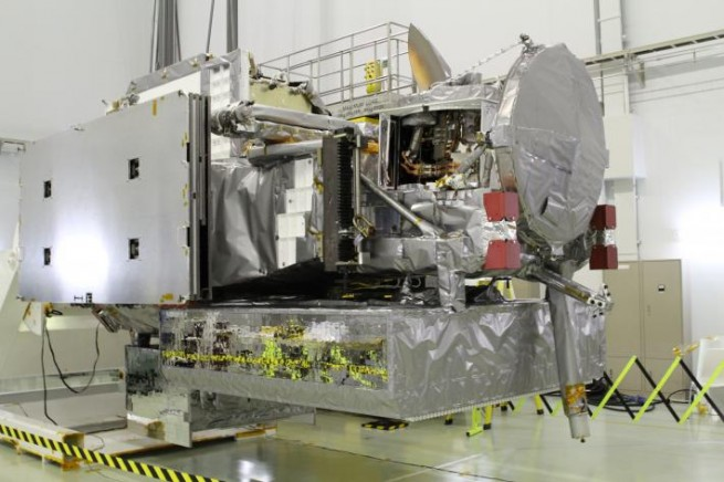 The GPM Core Observatory during processing of the spacecraft. Photo Credit: NASA / GSFC