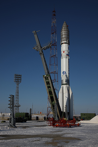 The Proton Briz-M rocket and payload were moved out to Launch Pad 24 on Feb. 13. Photo Credit: ILS