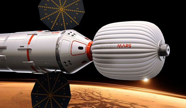 Dennis Tito and Taber McCallum have looked at what it would take to send a crew of two on a flyby of Mars. According to Rominger - the answer they come up with - was SLS. Image Credit: Inspiration Mars Foundation