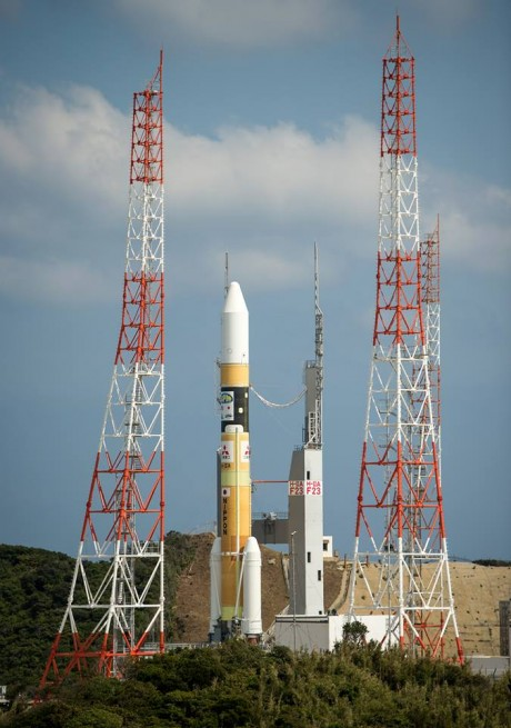 The GPM Core Observatory sits at Launch Pad 1 at the Tanegashima Space Center in Japan. Photo Credit: Bill Ingalls / NASA