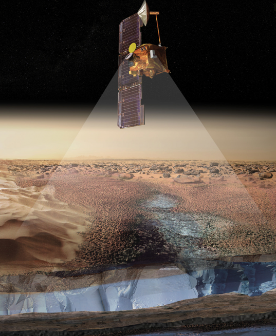Mars Odyssey has revealed the presence of subsurface ice and mapped the landing site for the Mars Science Laboratory rover Curiosity. Image Credit: NASA / JPL