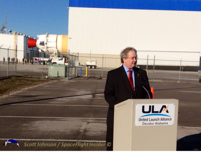 NASA's Bill Hill discusses the EFT-1 mission as the port CBC is rolled out to the ULA Mariner. Photo Credit: Scott Johnson / SpaceFlight Insider