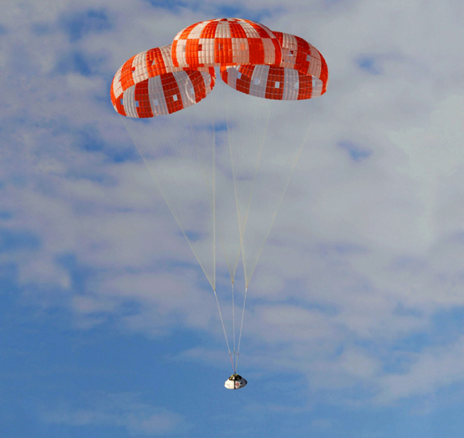 After being lifted off the ascent abort booster, it will splash down in the Atlantic Ocean under parachute. Photo Credit: NASA
