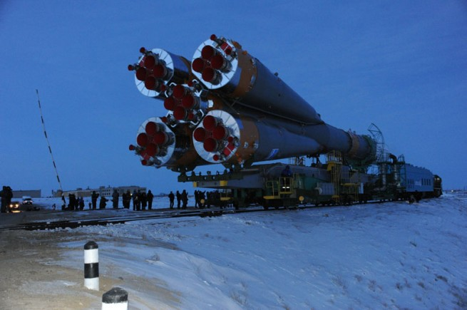 The Progress 54 spacecraft, affixed to its Soyuz launch vehicle was rolled out to the launch pad in the early morning hours of Feb. 3, 2014. Photo Credit: Energia