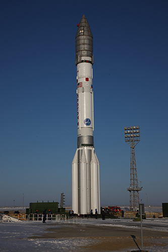The Proton Briz M rocket erected at the launch site at Baikonur. Photo Credit: ILS