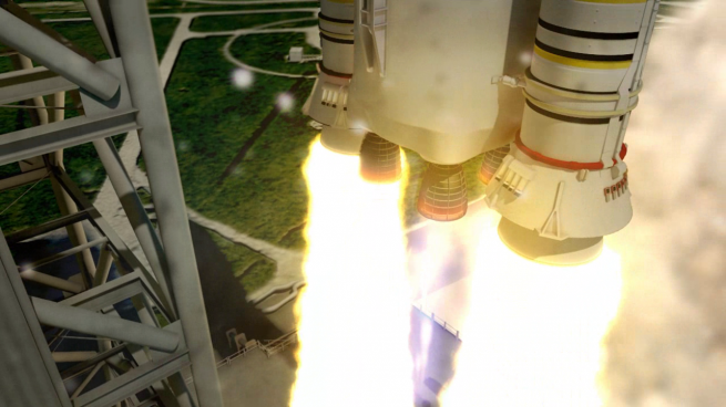The Solid Rocket Boosters on SLS are larger versions of those which were used on the space shuttle. Image Credit: NASA