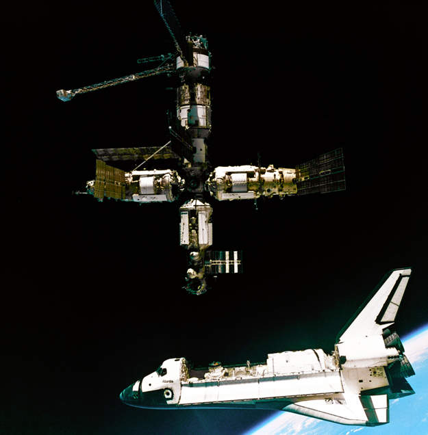 While Ross aided in the construction of the International Space Station, Lucid conducted an extended stay on the Russian space station Mir. Photo Credit: NASA