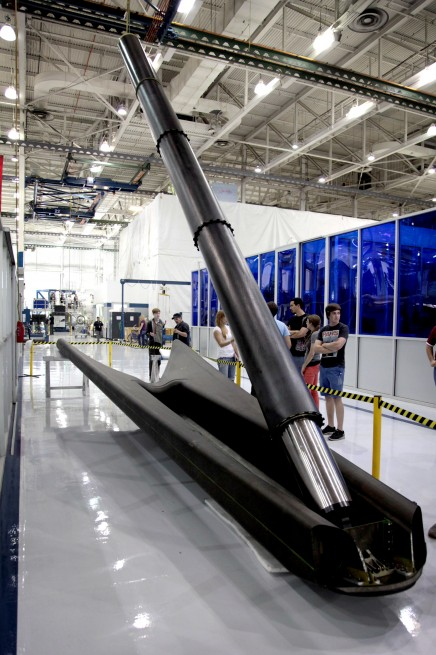 One of the Falcon 9's landing gear. Photo Credit: SpaceX