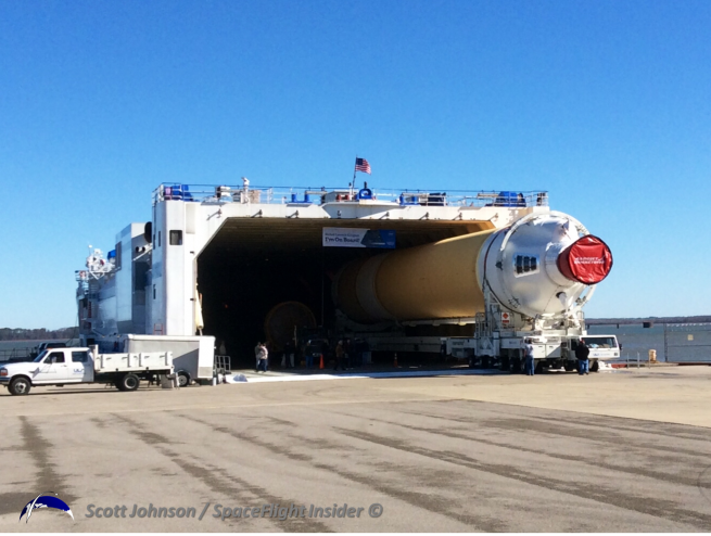 The ULA Mariner will conduct a three-day voyage to Cape Canaveral where it will deliver two of the EFT-1 mission's Common Core Boosters as well as the Atlas V booster for the NROL-33 mission. Photo Credit: Scott Johnson / SpaceFlight Insider