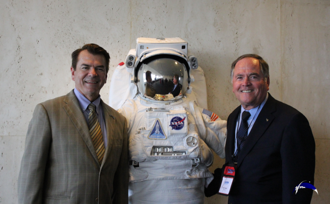 "Florida Senator Thad Altman pauses at the close of Florida Space Day to pose with four-time space shuttle veteran Robert Crippen and the Kennedy Space Center Visitor Complex's ""Space Man."" Photo Credit: Jason Rhian / SpaceFlight Insider"
