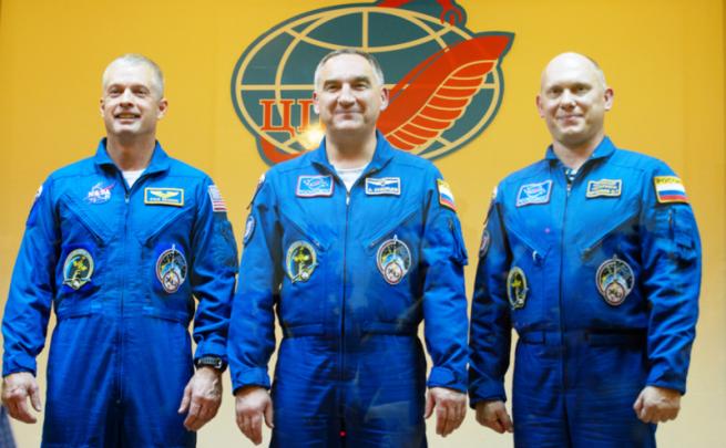 From left-to-right: NASA astronaut Steve Swanson, Russian Cosmonauts; Aleksander Skvortsov and Oleg Artemyev. Photo Credit: NASA