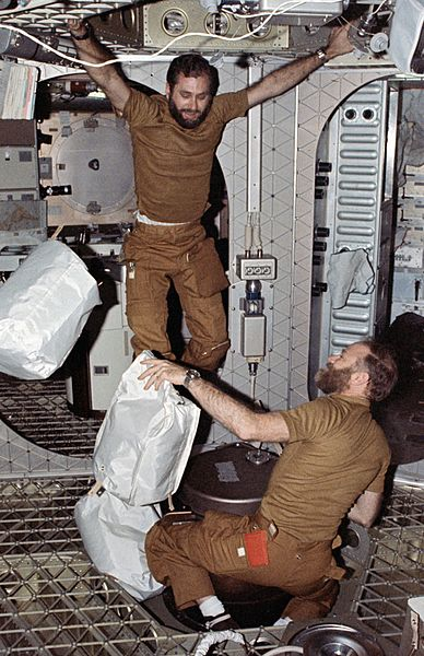 Bill Pogue (top left) is seen with Skylab 4 commander Gerald P Carr in this image during their landmark orbital mission. Photo Credit: NASA