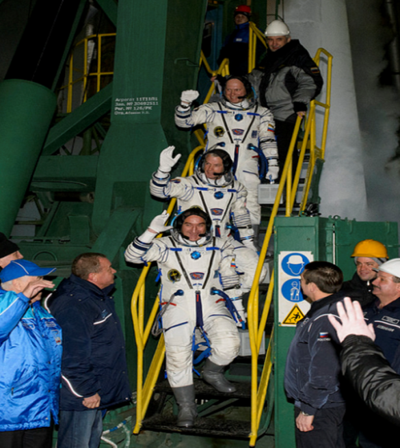 The trio will now join the three other Expedition 39 crew members already on board the ISS. Photo Credit: NASA