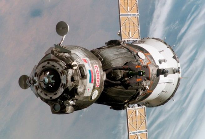 The Soyuz TMA-12M will wait in a higher orbit for the ISS to catch up to it. It should dock with the orbiting lab on March 28. Photo Credit: NASA