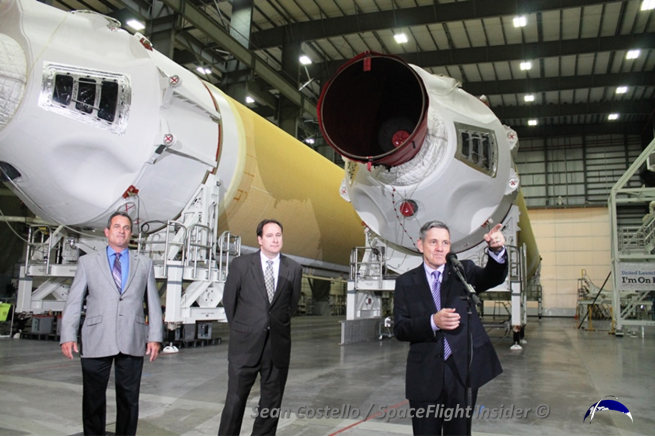 After taking several questions from the media, the three officials conducted a review of the HIF. Photo Credit: Sean Costello / SpaceFlight Insider