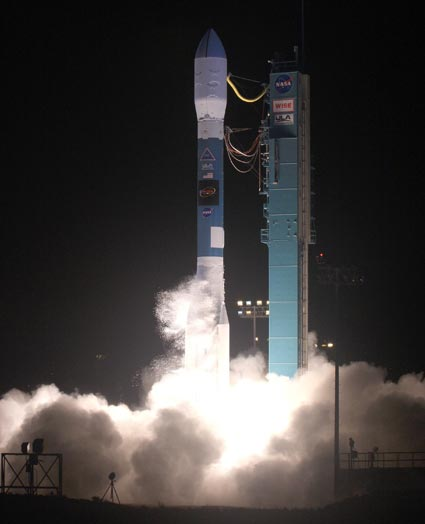 NASA's Wide-field Infrared Survey Explorer (WISE) spacecraft was launched from Vandenberg AFB on Dec. 14, 2009 aboard a Delta II rocket. Photo Credit: ULA/Bill Hartenstein