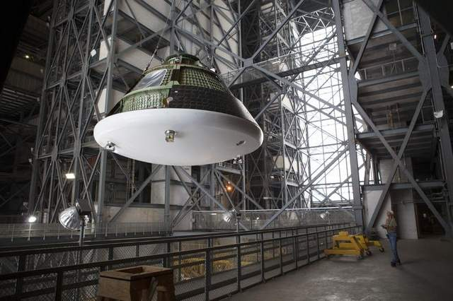 The first of NASA's Orion Multi-Purpose Crew Vehicles is poised to launch atop a United Launch Alliance Delta IV Heavy rocket later this year. Photo Credit: NASA