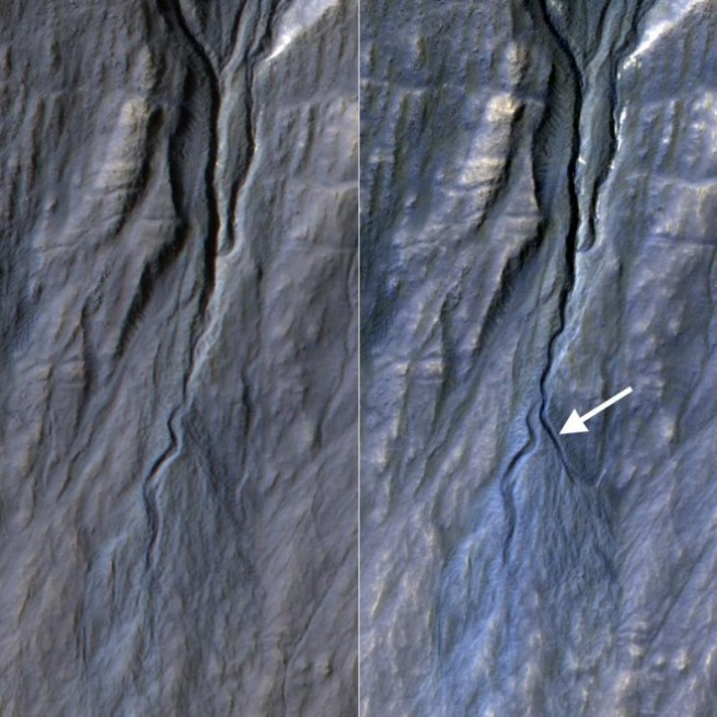 The gully was discovered by comparing images taken of the Martian surface in 2010 and 2013. Image Credit: NASA / JPL / Caltech