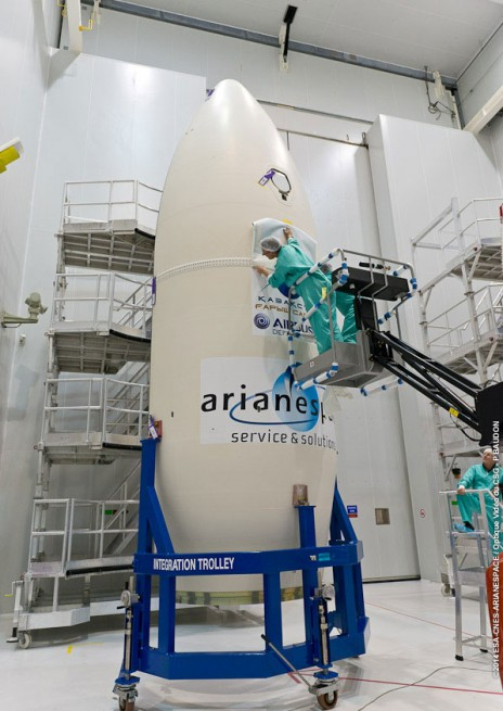 Seen here is the payload fairing which will protect DZZ-HR through Earth's atmosphere during ascent. Photo Credit: ESA/CNES/Arianespace