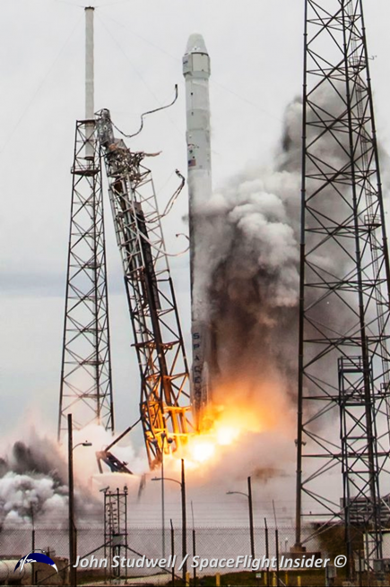 Other than splashing a bit of mud on itself, the Falcon 9 v1.1 rocket lifted off with few issues, sending some 4,600 lbs of supplies to the ISS. Photo Credit: John Studwell / SpaceFlight Insider