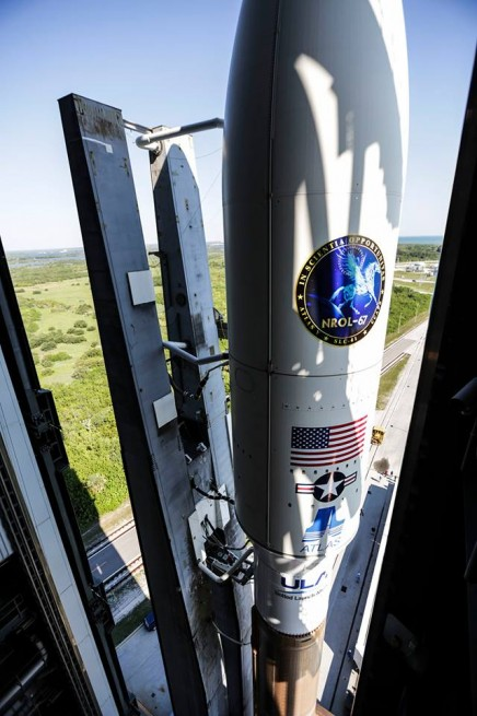 The Atlas V 541 rocket had been rolled back into the Vertical Assembly Building, which sits adjacent to SLC-41 after the range issues which scrubbed last month's launch attempts. Photo Credit: ULA