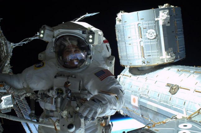 Rick Mastraccio made repairs to the exterior of the International Space Station with Steve Swanson at 9:56 am EDT. Photo Credit: NASA