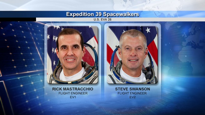 NASA spacewalkers Rock Mastracchio and Steve Swanson. Image Credit: NASA TV