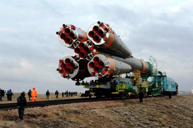 The Soyuz rocket with the Progress spacecraft is delivered to the launch pad via rail. Photo Credit: Energia