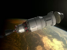 Artist concept of the Orion spacecraft as it will look during the Exploration Flight Test-1 mission. Image credit: NASA