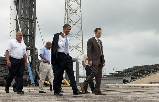 Musk met with President Barack Obama during the president's visit to Kennedy Space Center in 2010. Photo Credit: Bill Ingalls / NASA