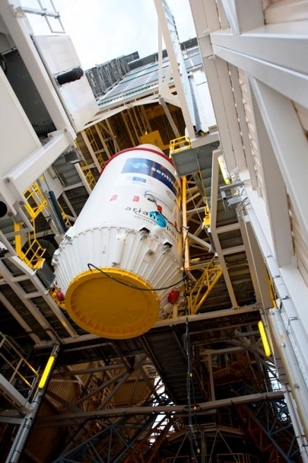 The Sentinel 1 spacecraft was integrated onto the Soyuz STA booster on March 31. Photo Credit: S. Corvaja / ESA