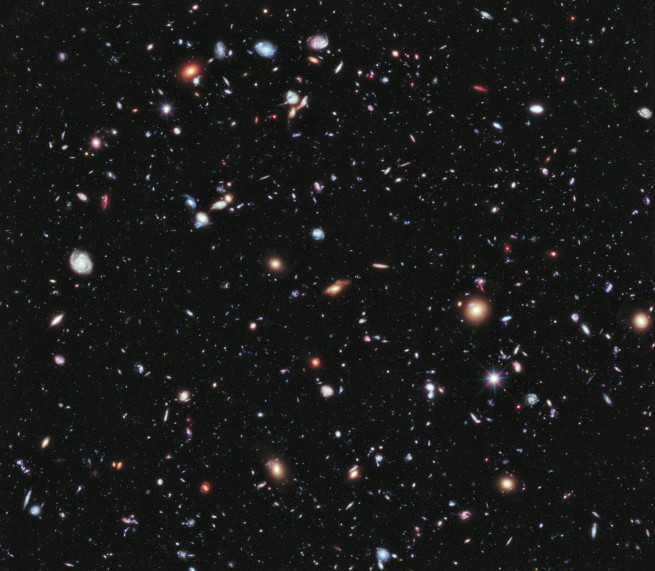 Called the eXtreme Deep Field, or XDF, the photo was assembled by combining 10 years of NASA Hubble Space Telescope photographs taken of a patch of sky at the center of the original Hubble Ultra Deep Field. Image and Caption Credit: NASA, ESA; G. Illingworth, D. Magee, and P. Oesch, University of California, Santa Cruz; R. Bouwens, Leiden University; and the HUDF09 Team.