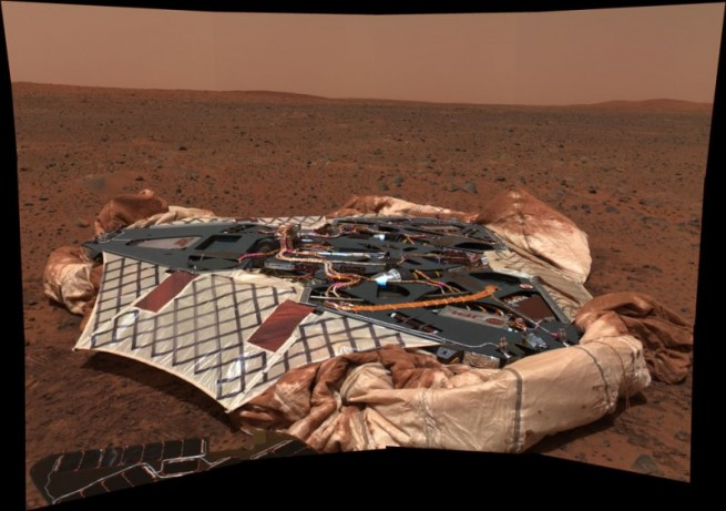 Each of the rovers, Spirit and Opportunity, safely touched down on the surface of the Red Planet via air bags. Photo Credit: NASA / JPL / Caltech