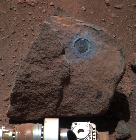 """The rock dubbed """"Marquette Island"""" one of the many spots that Opportunity has invested during its decade on the Red Planet. Photo Credit: NASA / JPL / Caltech"""