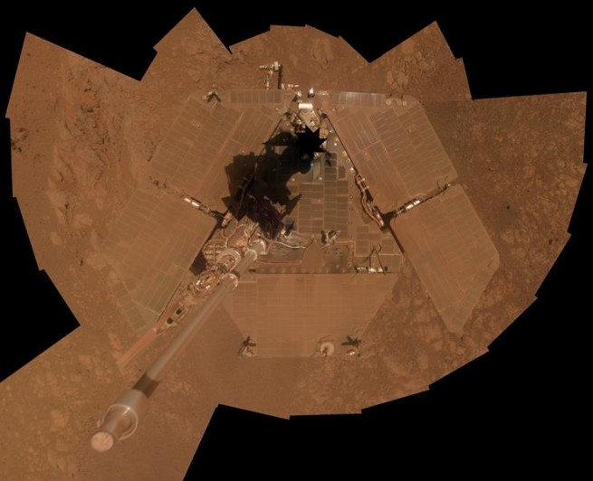 """Opportunity's time on Mars has been dramatically extended by periodic """"cleaning events"""" - dust devils which have cleaned off the robot's solar panels from time-to-time. Photo Credit: NASA/JPL-Caltech/Cornell Univ./Arizona State Univ."""