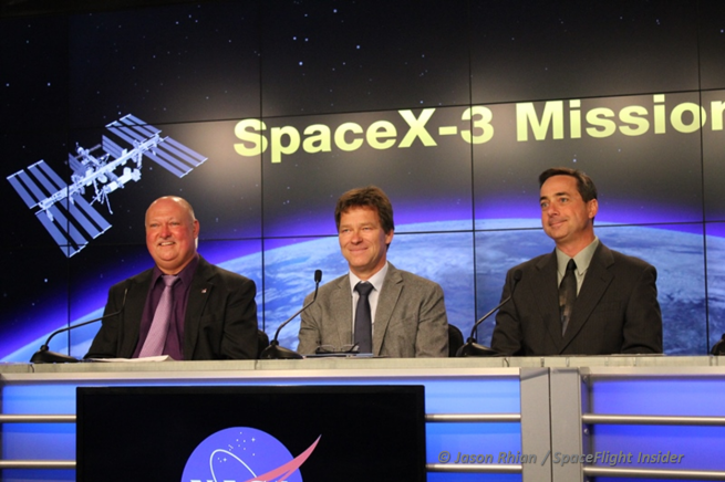 From left-to-right, NASA's Mike Curie. Hans Koenigsmann with SpaceX and ... Photo Credit: Jason Rhian / SpaceFlight Insider