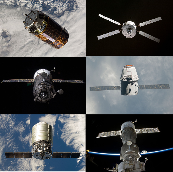 Including the crewed and unmanned versions of Soyuz/Progress, there are six spacecraft which currently deliver supplies and crew to the ISS. Clockwise they are: JAXA's HTV, ESA's ATV, SpaceX's Dragon, Roscosmos' Soyuz, Orbital's Cygnus and Roscosmos Progress. Photo Credit: NASA