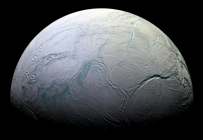 Enceladus has become one of the prominent places in the solar system where scientists are actively seeking out alien life. Photo Credit: NASA / JPL