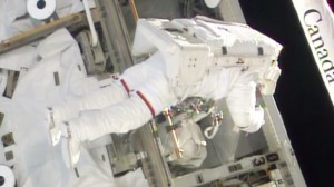 Rick Mastracchio works on the S0 truss after replacing a failed backup computer. Image Credit:  NASA TV