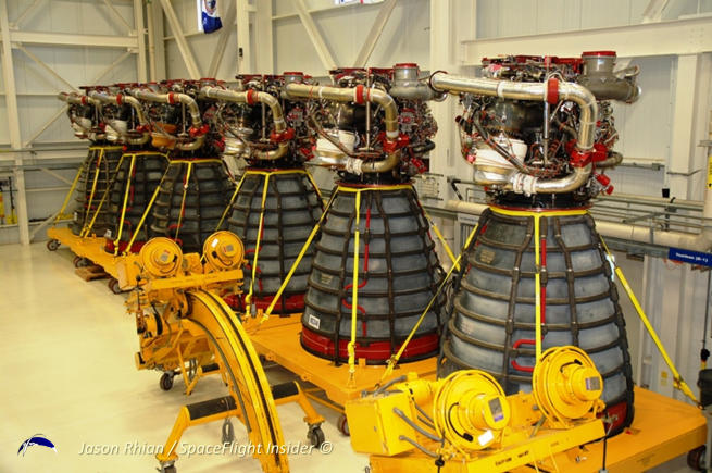 Several RS-25's await transport at Kennedy Space Center to Stennis in 2011. Photo Credit: Jason Rhian / SpaceFlight Insider