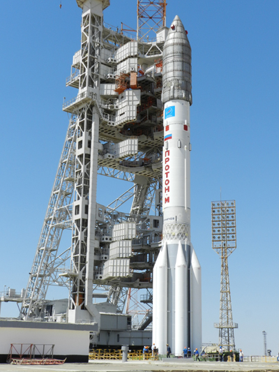 The Proton M rocket erected on the launch pad at the Baikonur Cosmodrome awaiting Friday's launch. Photo Credit: Khrunichev