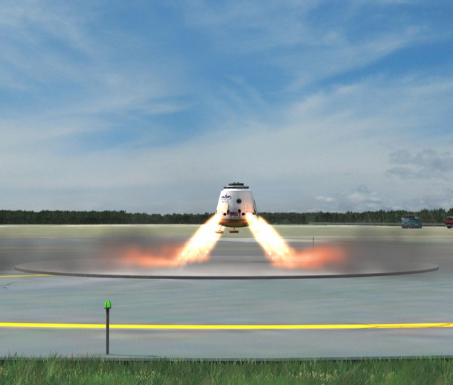 In the future, the Dragon spacecraft will use the SuperDraco thrusters to land propulsively on land with pinpoint accuracy. Image Credit: SpaceX posted on SpaceFlight Insider