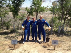 Expedition 40 crew carries on tradition of tree planting prior to launch. Photo Credit: ESA