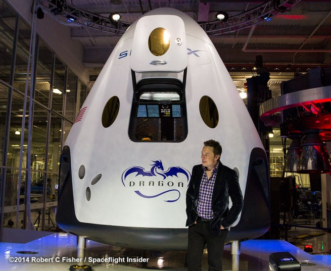 Elon Musk unveils SpaceX's new Dragon V2 capsule. Photo Credit: Robert C. Fisher/Spaceflight Insider