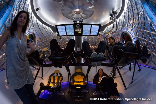 A look at the interior of the new Dragon V2 capsule. Photo Credit: Robert Fisher / Spaceflight Insider