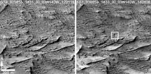 Before and after images from the Context Camera (CTX) showing the location of the newly-formed Martian crater. The left image is from January 16, 2012 and the left one is from April 6, 2014. Image Credit: NASA/JPL-Caltech/MSSS