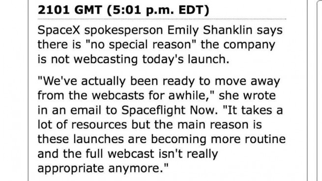 SpaceX media relations representative Emily Shanklin's comment on lack of webcast. Image Credit: SpaceFlight Now