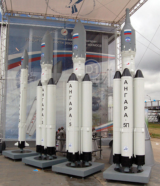 Models of the Angara rocket family on display at a 2009 Moscow airshow. Photo Credit: Wikimedia Commons